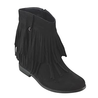 AD15 Women's Fringe Hidden Wedge Heel Side Zipper Ankle Booties