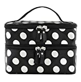 Leegoal Beauty Case Makeup Bag Double Layer Cosmetic Bag Black With White Polka Dots