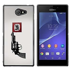 LECELL -- Funda protectora / Cubierta / Piel For Sony Xperia M2 -- Bang Pistol Gun --
