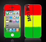 iPhone 4 Rasta #1 Reggae One Love Bob Marley Vinyl Skin kit fits 4th generation apple iPhone decal cover Skins case.