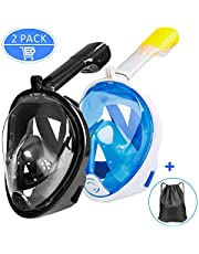 Full Face Snorkeling Mask, Omew 2 Pack Easy Breathing Snorkel Mask Snorkeling Set, 180° Seaview Anti-fog Anti-leak Design Swimming Diving Masks with Action Camera Mount for Adults (Black,Blue)