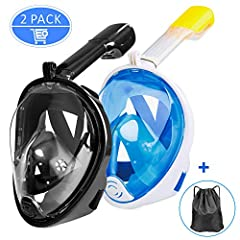 Ezire Full Face Snorkel Mask, 2-Pack Foldable 180° Panoramic Viewing Snorkeling and Diving Mask with Action Camera Mount(L/XL) (Not suitable for children under 14 years) Checking the seal before using: Pull the straps of the mask over your he...