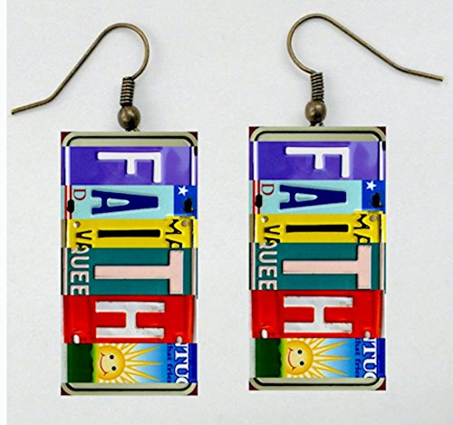 Custom Name Earrings (Plate Art, License Plate Jewelry, All 50 States, Sentiments, Custom Names, Places, Earrings, Matching Necklace Available, Handmade and Designed by Artist Patti Siehien, Ships Free)