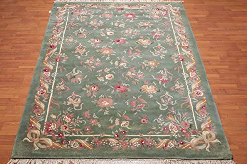 8'x11' Slate Green Ivory Rose, Grey, Brown, Red, Multi Color Hand Tufted Thick Pile Aubusson Area Rug 100% Wool Traditional Savonerrie Design Oriental Rug ()