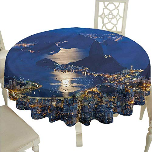 - crabee Tablecloth Stain Resistant Night,Mountain Sugar Loaf Rio,Round Tablecloth