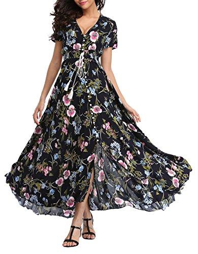 VintageClothing Women's Floral Print Maxi Dresses Boho Button Up Split Beach Party Dress,Black&floral B,X-Large (Short Black Sleeve In Empire Dress)