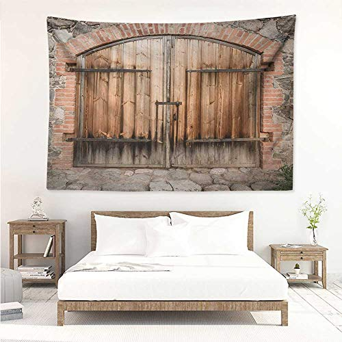 Rustic,Wall Decor Room Tapestry Wooden Door of a Stone House with Wrought Iron Elements Tuscany Architecture Photo 93W x 70L Inch Wall Hanging Mat Blanket Brown Grey