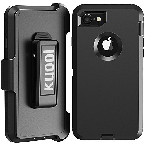 iPhone 7 Case, [Heavy Duty] [Drop Protection] [Shockproof] Tough Rugged Hybrid Hard Shell Cover Case with Belt-Clip for Apple iPhone 7 [4.7 inch]-Black