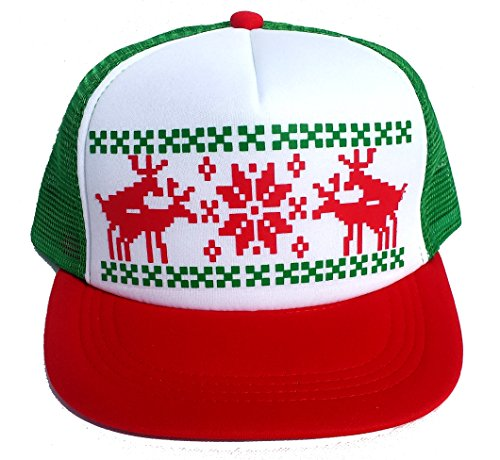 Humping Sex Reindeer Ugly Sweater Mesh Trucker Hat X Mas (RGWhite)]()