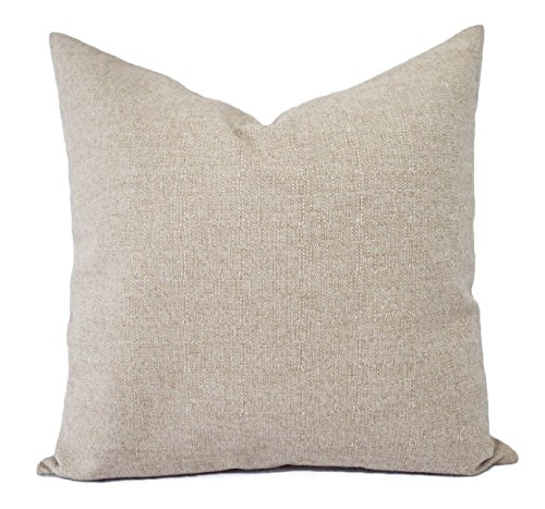 Modern Solid Tan Pillow Cover - Natural Burlap Pillow - Custom Sized Pillows