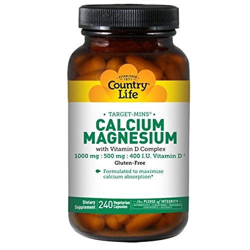 Country Life Target Mins - Calcium Magnesium with Vitamin D-Complex - 240 Vegetarian Capsules by Country Life