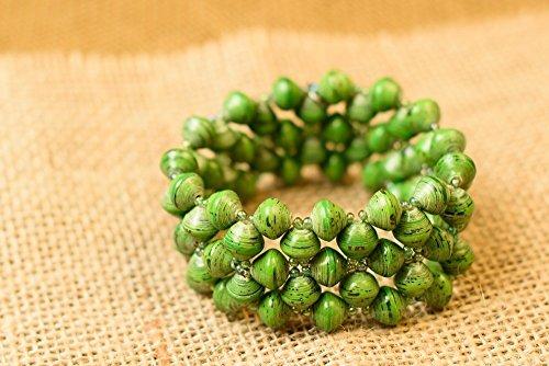 Green Handmade Bracelets - Paper Bead Stretch Imara Cuff Bracelet - Green - Fair Trade BeadforLife Jewelry from Africa