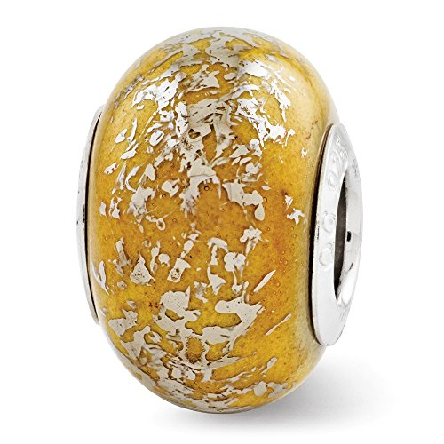 (Sterling Silver Polished Antique finish Reflections Yellow With Platinum Foil Ceramic Bead Charm)