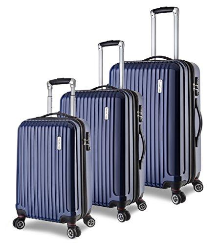TravelCross Berkeley 3 Piece Lightweight Spinner Luggage Set - Navy by Travelcross