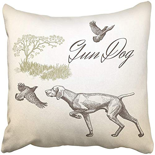 Pillow Covers Print Quail Dog Hunting Gun Engraved Landscape Vintage Animals Collection Drawings Graphics Nature Polyester Zippered 18x18 Square Pillow Case Home Bed Couch Sofa