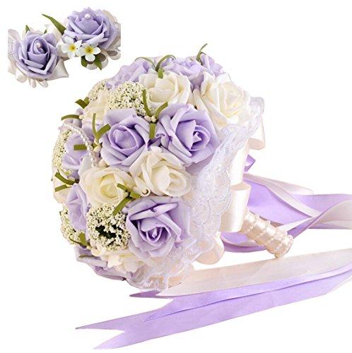iLovewedding Handmade Artificial Pearls Flower Rose Bridal Wedding Bouquet