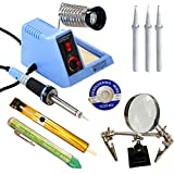 Whatnot Widgets 10 Piece Electronic Soldering Iron Station Kit with On/Off Switch, Adjustable Temperature 110V Electric 48 Watt Iron, 3 Tips, Helping Hands, Stand, Solder, Sucker, Wick, Tip Cleaner