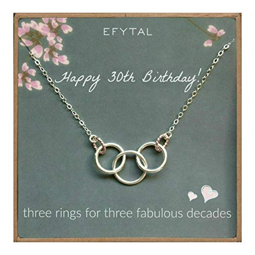 EFYTAL Happy 30th Birthday Gifts for Women Necklace, Sterling Silver 3 Rings Three Decades Necklaces Gift Ideas ()