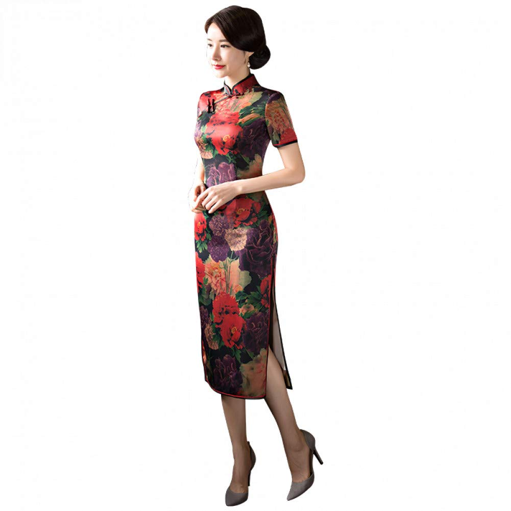 L BINGQZ Spring new long cheongsam catwalk Slim fit improved fashion slim double cheongsam dress