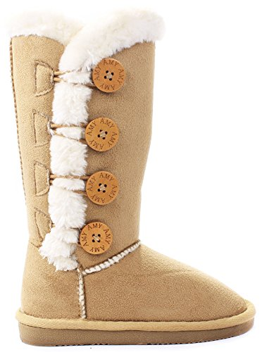 kids girls amy camel wooden button faux fur lined shearling mid calf winter boots-13