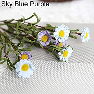 YHCWJZP Artificial Fake Silk Daisy Flower Bouquet Home Wedding Party Decoration 8 Heads - Sky Blue Purple 29