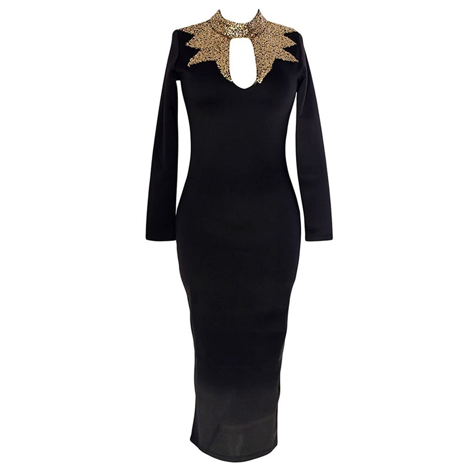 Women's Black Gold Sequins Mock Neck Midi Dress