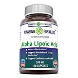 Amazing Formulas Alpha Lipoic Acid * 200mg 120 Capsules Per Bottle * Pure ALA Capsules - Ideal Formulas Supplement for healthy weight management, Athletic Performance & More