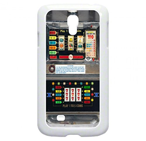 Vintage Slot Machine-Casino- Case for the Galaxy S4 i9500 -Hard White Plastic Outer Shell with Inner Soft Black Rubber Lining