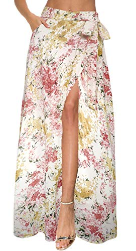 Afibi Womens Flowy Chiffon Summer Beach Wrap Split Maxi Skirts with Pockets (Medium, Pale Yellow)