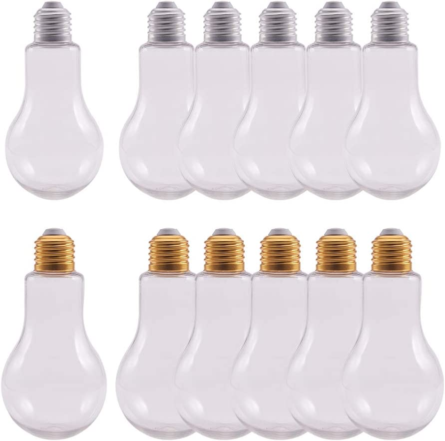 NBEADS Tarros de plástico, 12 Piezas Bombilla en Forma de Botella de plástico de 200 ml para decoración de Fiestas, Color Dorado y Plateado Mixto, 136X68 mm