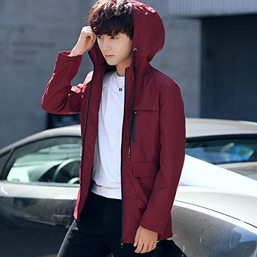 color Hombre rojo versión chaquetas cap sólido chaqueta hombres jóvenes largo Chaqueta Los coreana otoño XXL hombres de de 8PnOw