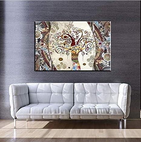 liwendi Famoso Cuadro De Arte De La Pared Póster Y Pintura sobre Lienzo Pintura Árbol De La Vida por Gustav Klimt para La Decoración De La Sala De Estar 70 * 90 Cm