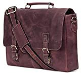 16 inch Genuine Leather Briefcase Bag - Crossbody Laptop Satchel by Rustic Town