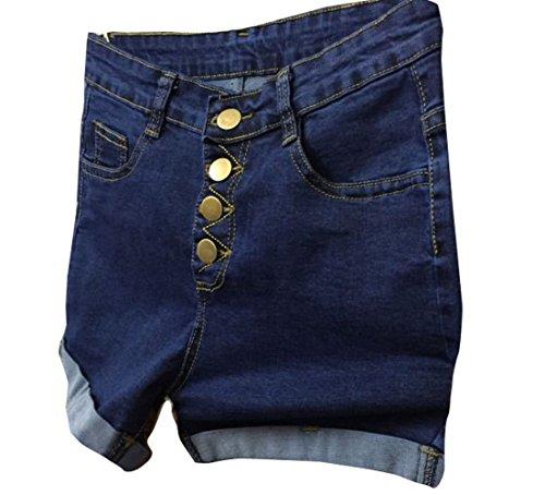 Shawhuaa Womens Retro High Waist Denim Shorts Stretch Jeans Large Blue