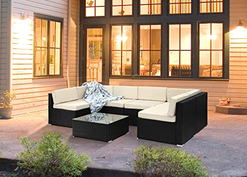 Decors-A 7 Piece Outdoor Sectional Sofa Set, All-Weather Rattan Wicker Patio Conversation Furniture Set w/Washable Cushions and Glass Top Coffee Table, Black