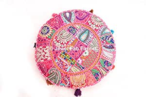 Indian Round Vintage Cushion Cover Floor Decorative Khambadiya Patch Work Pillow Cases Pink Color