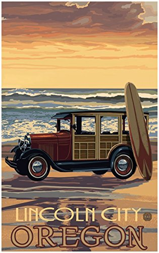 Lincoln City Oregon Car With Surfboard Travel Art Print Poster by Paul A. Lanquist (30