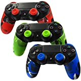 Pandaren Soft Silicone Thicker Half Skin Cover for PS4 Controller Set (skin X 3 + Thumb Grip X 6)(Green, Blue, Red)