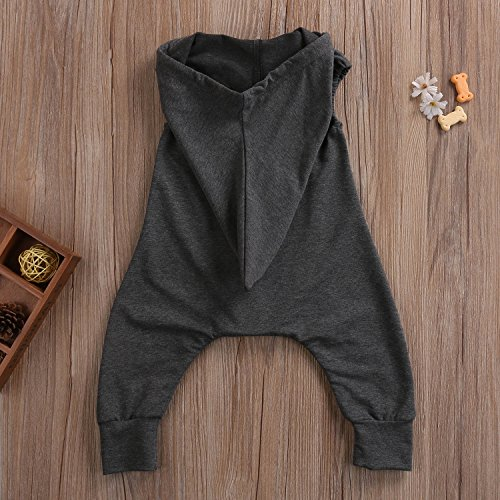Baby Boys Sleeveless Hoodie Zipper Harem Jumpsuit Romper with Pocket (6-12M, Grey)