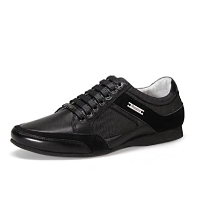 5925146a2cab Bambooa Men s Designer Low Black Leather Smart Casual Shoes Trainers (UK 9