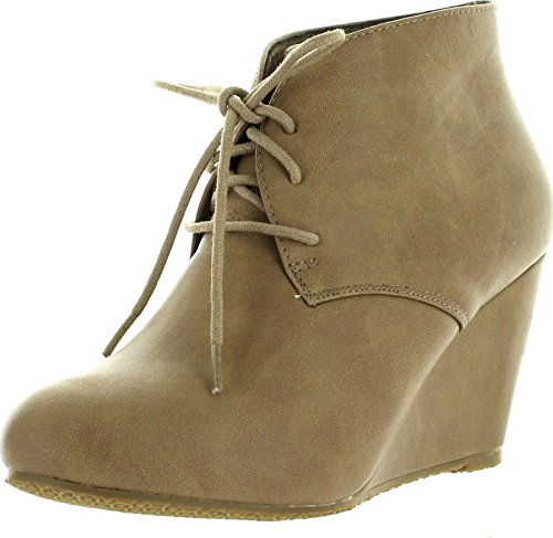 Anna Womens Sally-5 Adorable Almond Toe Lace Up Wedge Ankle Bootie,Taupe Pu,6