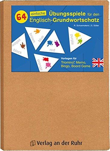 64 einfache Übungsspiele für den Englisch-Grundwortschatz: Vorlagen für Triomino, Memo, Bingo, Board Game