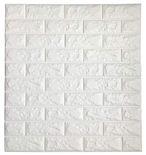 impress home 3D Brick Wall Sticker Self Adhesive Wall Tiles, Peel to Stick Wall Decorative Panels for Living Room, Bedroom, White Color 3D Wallpaper 30.3 x 27.5 (20 Pack), Total 115.6 Sq Ft