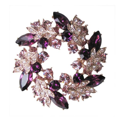 Fashion Plaza Gold Tone Purple Flowers Floral Wheel Medallion Crystal Pin Brooch BR94