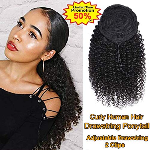 VTAOZI Curly Human Hair Drawstring Ponytail Extension for Black Women 8A Brazilian Kinky Curly Clip in Ponytail Extension Human Hair Pieces Natural Color (12 Inch)
