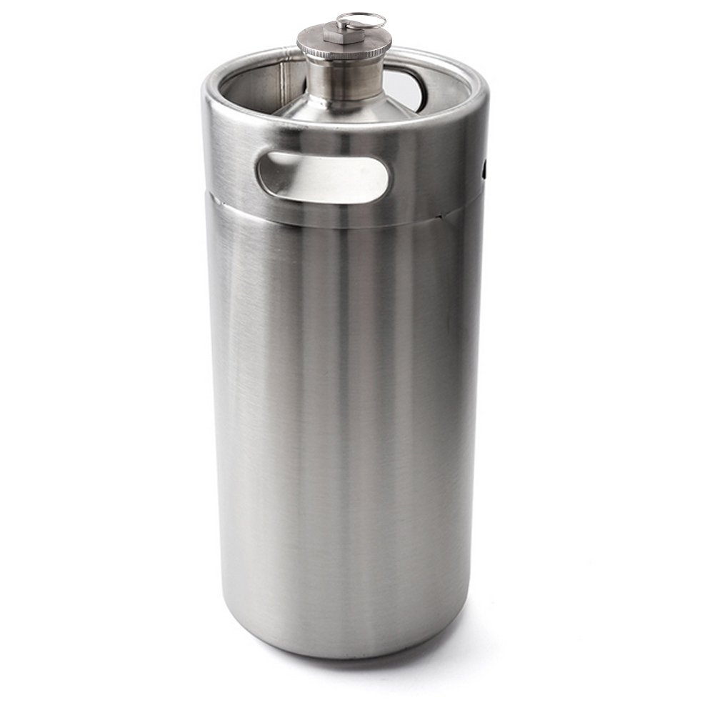 HaveGet 128 OZ Mini Keg Style Growler Stainless Steel Beer Barrel Holds Beer Silver by HaveGet