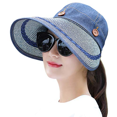 Cowboy Protection Sun (Muryobao Women's Wide Brim Floppy Caps Packable Straw Sun Hat Summer UV Protection Hats with Chin Strap for Women Beach Glof Cowboy Blue, Fit Head Circumference Size: 22