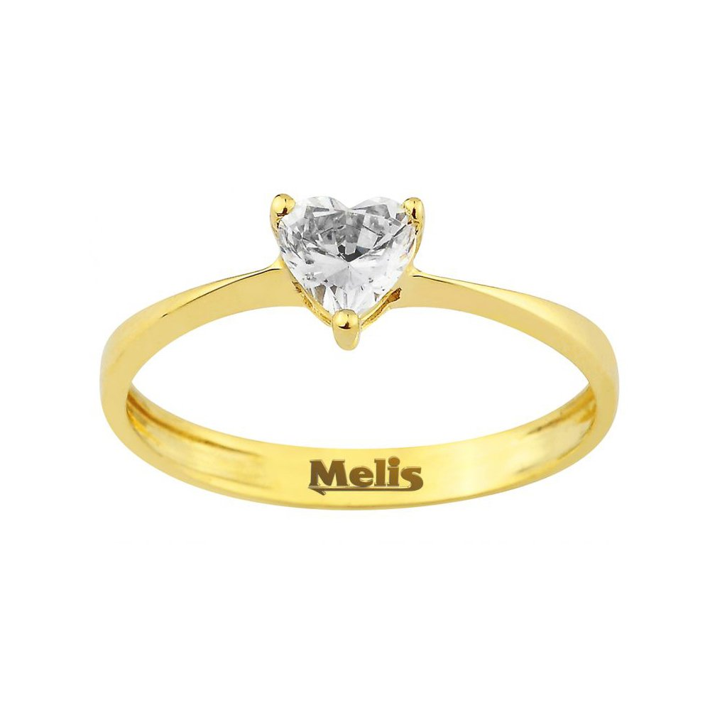 Heart Ring 14k Solid Yellow Gold Ring 1.01 gr For Women Dainty Ring Fine Ring Size 3