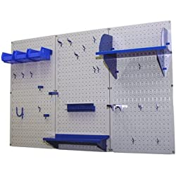 Wall Control 30-WRK-400 GBU Pegboard Organizer 4' Metal Standard Tool Storage Kit with Gray Tool Board and Blue Accessories
