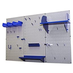 Wall Control 30-WRK-400 GBU Pegboard Organizer 4\' Metal Standard Tool Storage Kit with Gray Tool Board and Blue Accessories